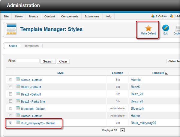 Set the new Joomla 2.5 template as default