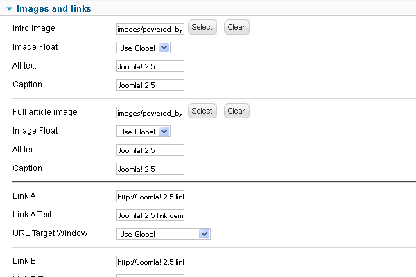 Images and links configuration in an article