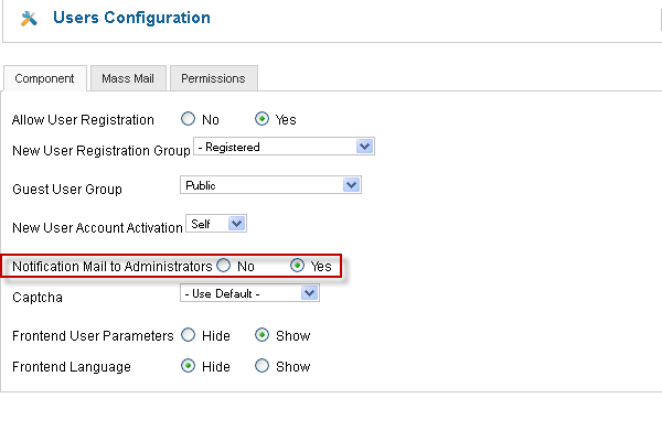 Notification mail to administrator