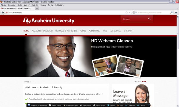 The Anaheim University website