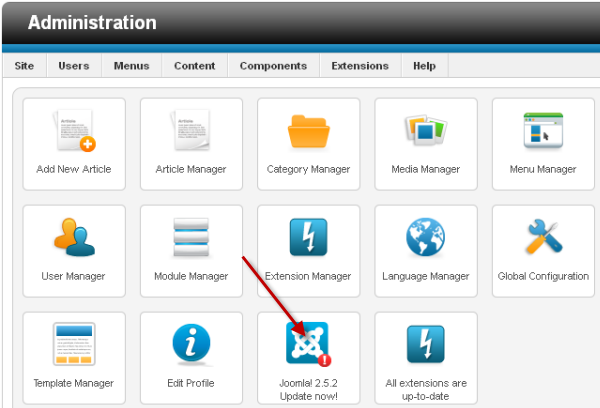 Click on the icon to update to the latest Joomla version