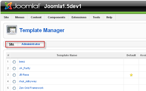 Template Manager in Joomla 1.5