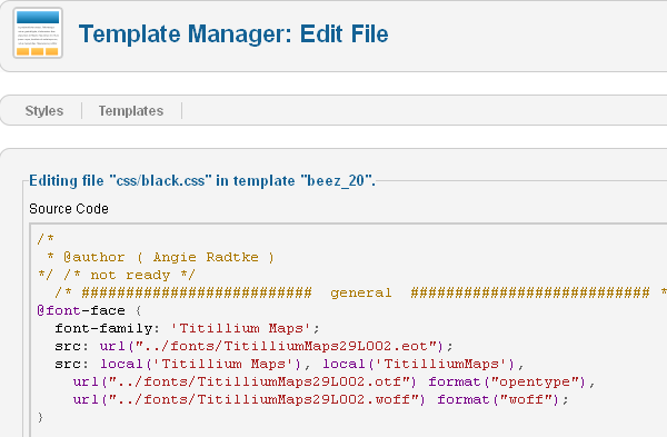 Editing CSS file in Joomla 2.5