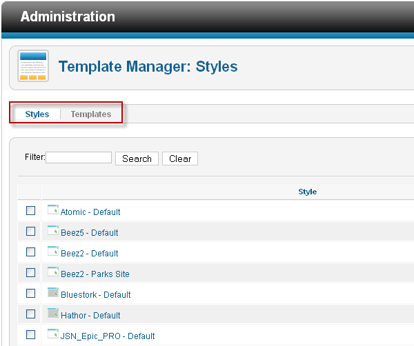 Template Manager in Joomla 2.5