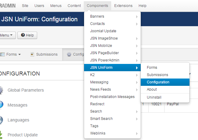 Create a payment form in Joomla 3.x - JSN UniForm configuration