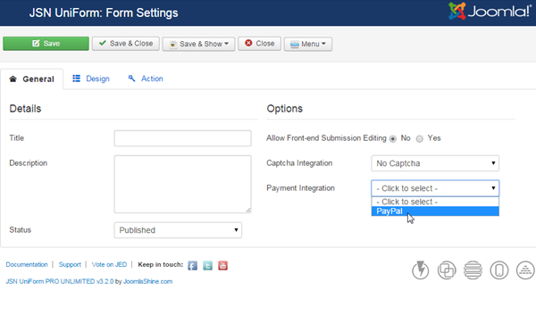 Choose PayPal for your Joomla payment form