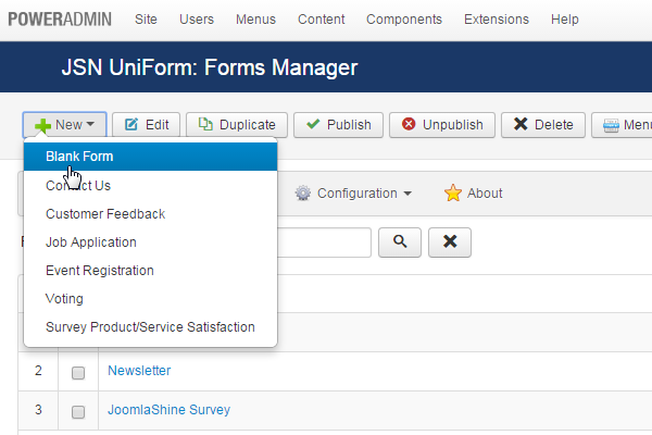 Create new payment form in Joomla