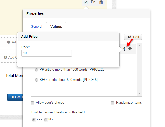 Edit the price for your Joomla payment form