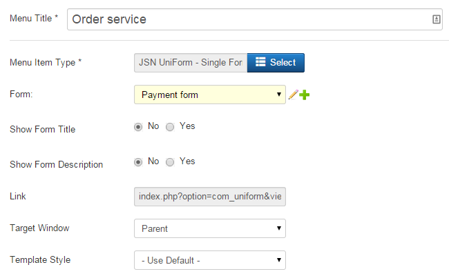 Choose menu item type for your Joomla payment form