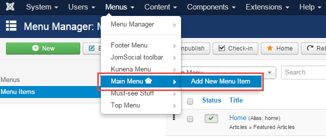 Add menu item for your Joomla payment form