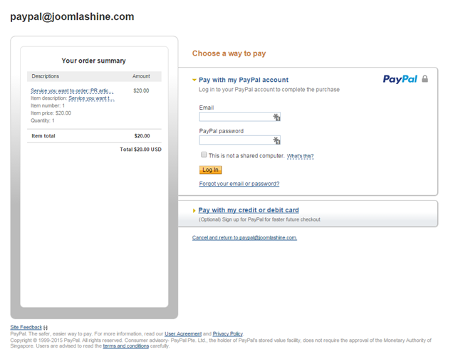 Perform a test for your Joomla payment form