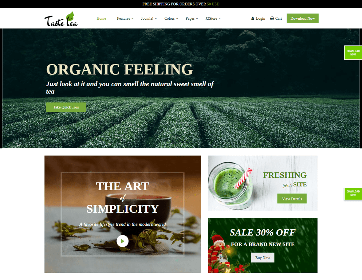 homepage of single product website