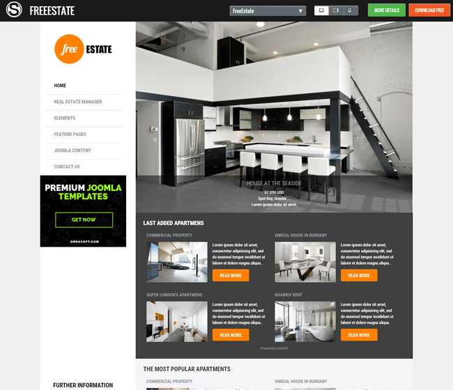 free estate free responsive template for joomla 3x