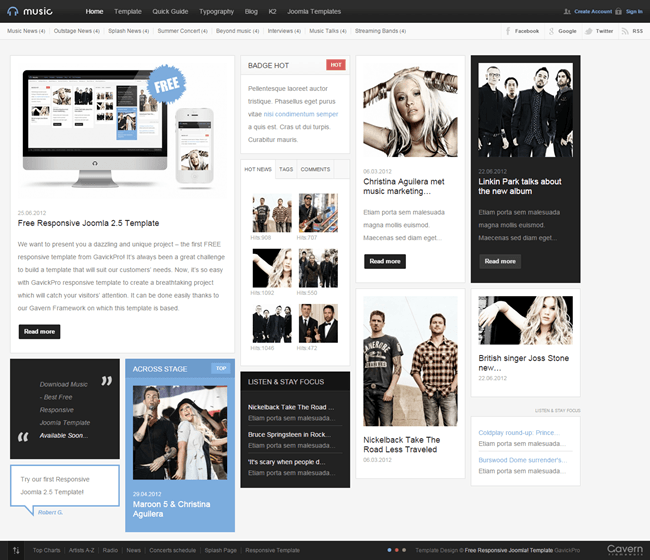 music free free responsive template for joomla 3x