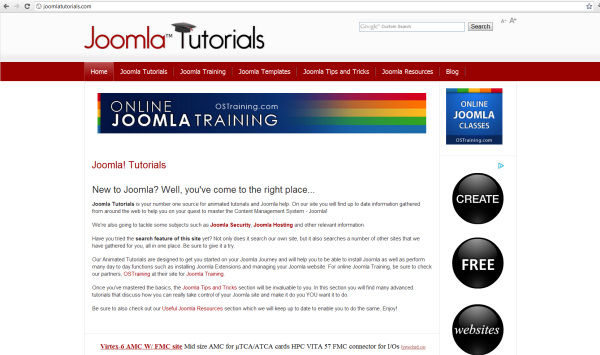 Video tutorial resource - Joomla Tutorials website