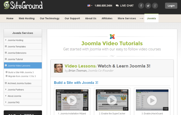 Video tutorial resource - SiteGround website