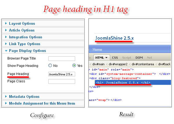 Joomla SEO function: Page heading in H1 tag