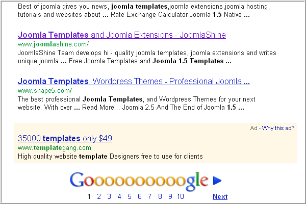 Joomla SEO FAQs: Keywords on Google search results