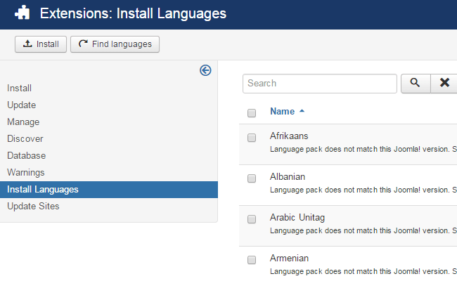 Install suitable language package