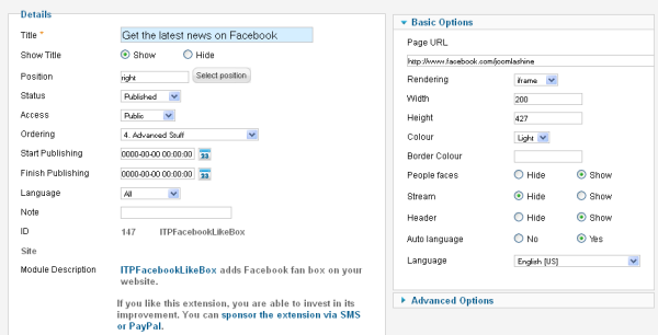 Module manager page of ITPFacebookLikebox