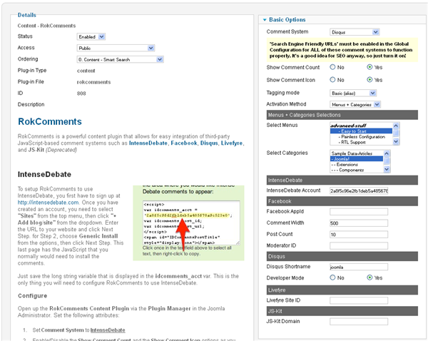 Module manager page of Rokcomments
