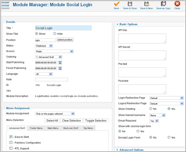 Module manager page of Social Login