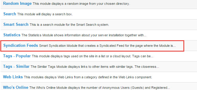 Syndication module