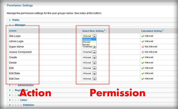 Action Permission Joomla 1.7