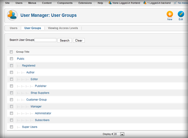 User Manager: User Groups
