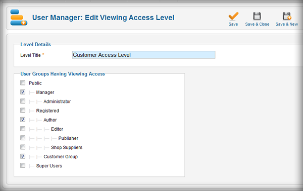 User Manager: Edit Viewing Access Levels