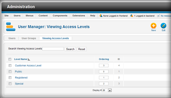 Access Level - Joomla 1.7