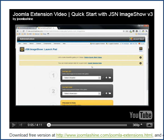 Joomla 2.5 video extension | Easy Embed Video's screenshot