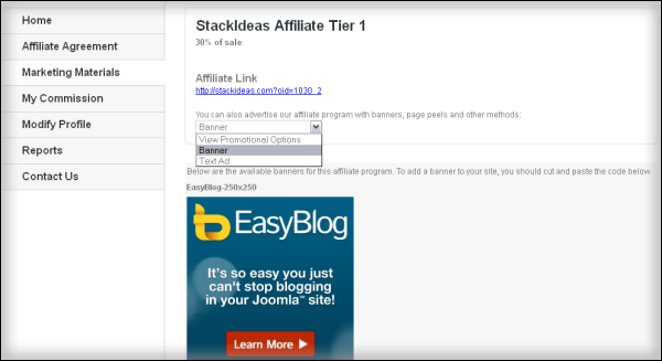 StackIdeas Affiliate options