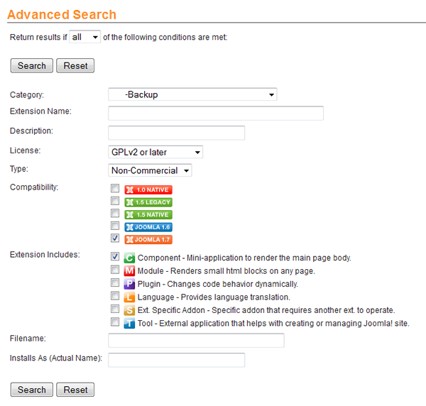 JED advanced search selection