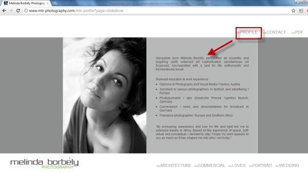 Joomla powered websites - Melinda Borbely website - Profile