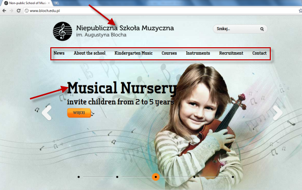 Joomla powered websites - school of music page