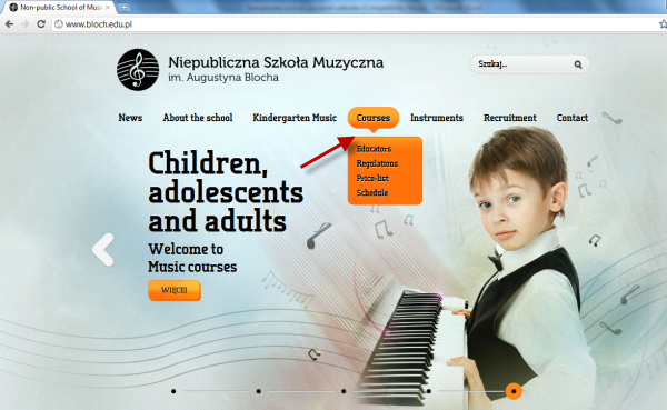 Joomla powered websites - school of music page-Course