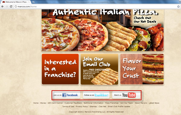 Joomla powered websites - Marco's Pizza - Socia media