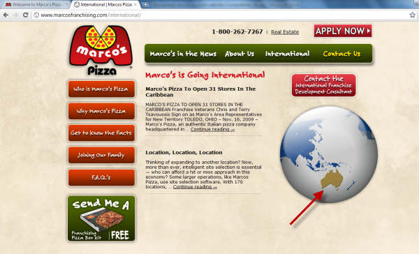 Joomla powered websites - Marco's Pizza - Animated Globe