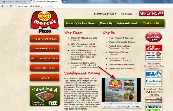 Joomla powered websites - Marco's Pizza - Video clip