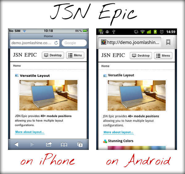 JSN Epic on iPhone and Android