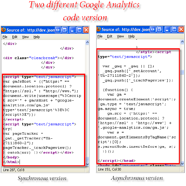Google Analytics code - two different versions