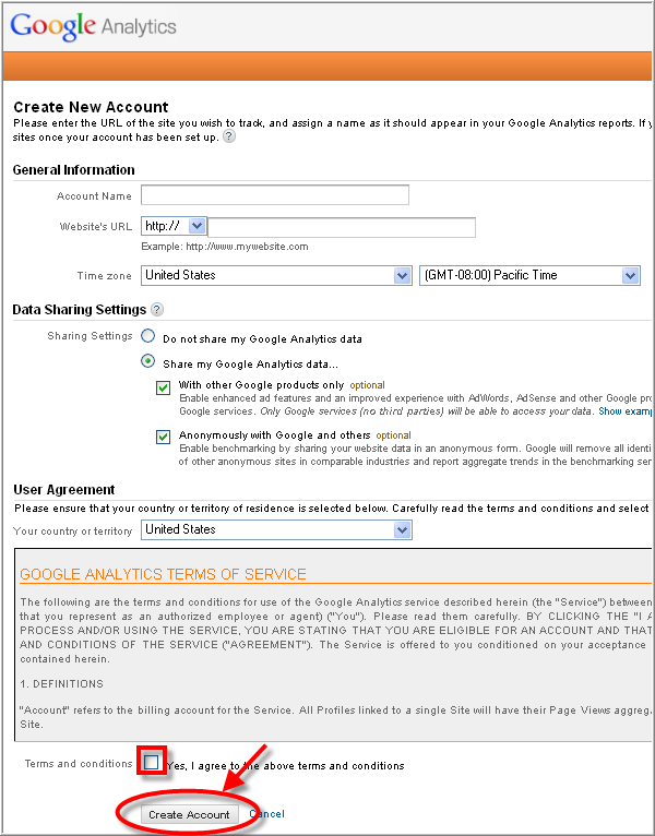 Create Google analytics account - Fill information