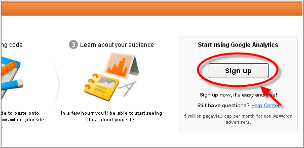 Create Google analytics account - Sign up page again
