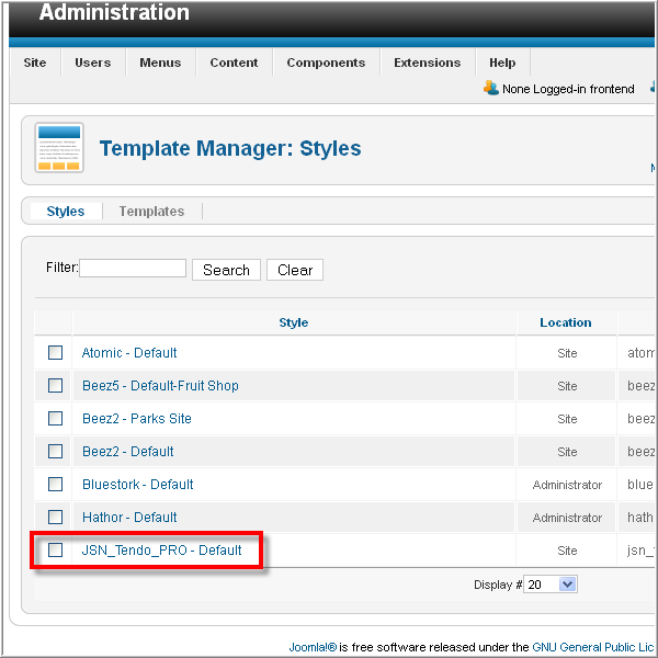 JoomlaShine template - Administration of JSN Tendo