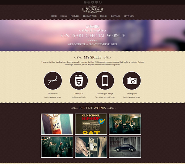 JoomlaShine template preview | JSN Vintage