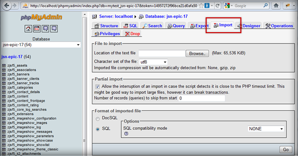 Select import database