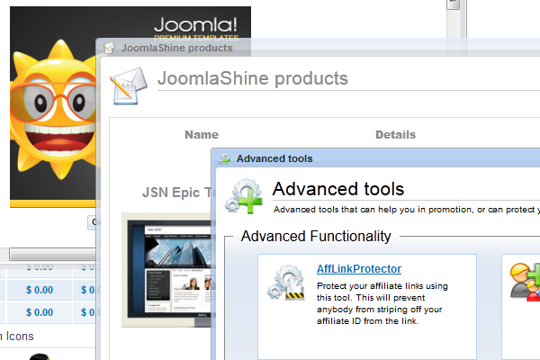 JoomlaShine Affiliate Program | Various marketing materials