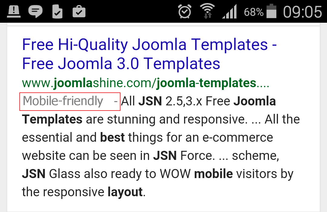 SERPS with mobile friendly label