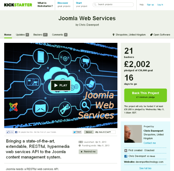 Joomla Web Services project on Kickstarter.com